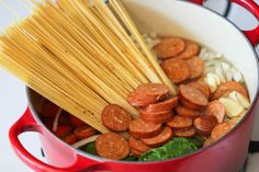 One Pot Pasta - The easiest, most amazing pasta you will ever make. Even the pasta gets cooked right in the pot. I would substitute cooked Italian sausage for the Andoullie. Easy Healthy Dinners, Healthy Dinner Recipes, Great Recipes, Favorite Recipes, Pork Recipes, Pasta Recipes, Cooking Recipes, Pasta Dishes, Food Dishes