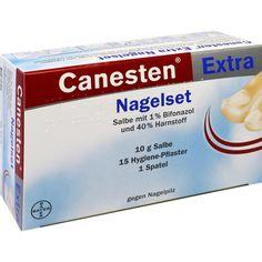 CANESTEN extra Nagelset ointment bei Nagelpilz:   Packungsinhalt: 1 St ointment PZN: 00619053 Hersteller: Bayer Vital GmbH Preis: 24,14…