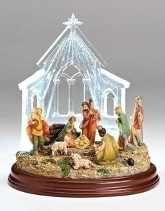 """8"""""""" Led Nativity In Stable Fig"""