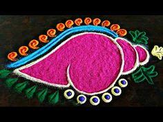 Innovative and vibrant shankh rangoli design Easy Rangoli Designs Videos, Simple Rangoli Border Designs, Easy Rangoli Designs Diwali, Indian Rangoli Designs, Rangoli Designs Latest, Rangoli Designs Flower, Free Hand Rangoli Design, Small Rangoli Design, Rangoli Ideas