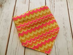 Pink and Taupe Monogrammed Dog Bandana.  Swirly chevrons on the front and elegant taupe circles on the reverse. by CollarRap on Etsy