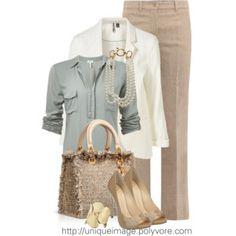 Love the muted tones in the outfit.  The blue is understated, but still adds interest.