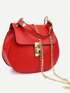 Shop Faux Leather Handle Saddle Bag With Chain - Red online. SheIn offers Faux Leather Handle Saddle Bag With Chain - Red & more to fit your fashionable needs.