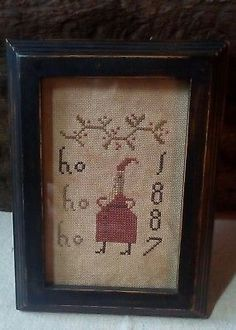"""Primitive Handmade Christmas Stitched Framed Santa """"Ho Ho Ho"""" Sampler"""