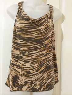 Banana Republic Scoop Neck Sleeveless Top Petites SZ PS Animal Print  | eBay