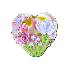 19mm Handmade Light Pink with Blue Flora Heart Beads by Grace Lampwork