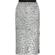 Burberry London Sequined tulle pencil skirt ($835) ❤ liked on Polyvore featuring skirts, silver, embellished skirts, knee length pencil skirt, below knee pencil skirt, sequin skirt and below the knee skirts