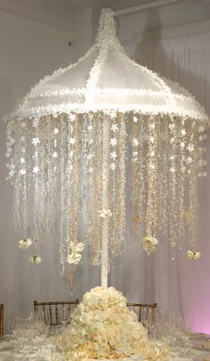 Dramatic Umbrella Centerpiece for a wedding shower. Bridal Shower Centerpieces, Floral Centerpieces, Baby Shower Decorations, Floral Arrangements, Wedding Decorations, Christening Centerpieces, Umbrella Centerpiece, Chandelier Centerpiece, Elegant Wedding