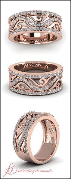 White Diamond Wedding Bands In 14K Rose Gold || Filigree Framed Band #Rosegoldweddingband #diamondweddingband