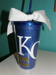Sparkly blue Kansas City Royals Acrylic Tumbler / by TaloolahBelle, $12.95