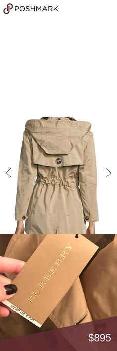 Burberry Brit Knightsdale trench NWT Brand new Burberry trench with  detachable hood. Burberry pattern on 14c7a3f976067