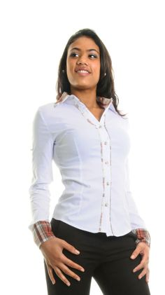 Chemise femme rebord à carreaux Kathy blanc   Choix et qualité pour Chemise  femme rebord à carreaux Kathy blanc pas cher dans notre boutique a47cdab4d1e