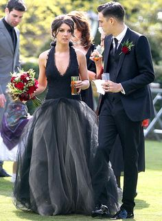 LOVE her dress!!  Shenae Grimes, in a black Vera Wang gown, and Josh Beech were married on May 10, 2013.