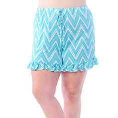 Aqua Chevron Shorts Plus Size Chevron Ruffle Shorts.  Like this post to be notified of arrival and price drop. Sizes 1x-4x.  Amazing stretch, super soft fabric. 96% rayon 4% spandex. NO TRADES Bellino Clothing Shorts