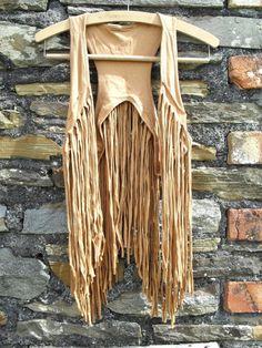 Vintage 70s style Crochet shreaded Fringed fringe vest Waistcoat Tassle Hippie hippy top Woodstock Festival Tan S 8 10