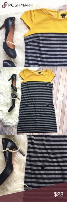 """New Directions mustard, black, grey dress Gorgeous pull over dress with faux front pockets and cap sleeves. Fully lined, with beautiful color contrast 😍 Looks stunning with black heels! Gently used, but in great condition. Measurements laying flat: bust 19"""", waist 18"""", length 36"""" new directions Dresses"""