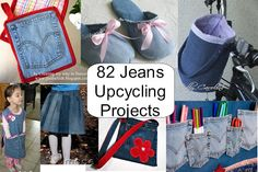 Best Ideas for Upcycling Jeans - 82 projects!~ including every upcycled jeans… Diy Jeans, Jean Crafts, Denim Crafts, Diy Clothes Refashion, Use E Abuse, Diy Clothes Videos, Denim Ideas, Recycled Denim, Upcycle