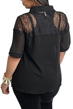 d7c93c59eb4 DHStyles Womens Plus Size Sheer Lace Collared Button Down Top-2X - Black  Lace Collar