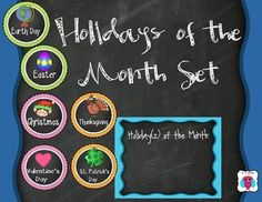 This is a Holidays of the month poster and piece set.  You add the holiday circles to the Holidays of the month poster.  I included 17 holidays and four blank circles for drawing in additional holidays.  Happy Holidays!The holidays include: Christmas, Hanukkah, Halloween, Thanksgiving, Cinco De Mayo, Earth Day, Easter, Valentine's Day, Mother's Day, Father's Day, Memorial Day, President's Day, Martin Luther King Day, Labor Day, Canada Day, St.