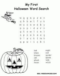 Great resources of Halloween activities for kids. Includes Halloween free coloring pages, Halloween words search and Halloween counting practice. Halloween day has arrived. It's time to have fun with our children with this Halloween activities. Halloween Puzzles, Halloween Crossword Puzzles, Halloween Poems For Kids, Halloween Word Search, Halloween Worksheets, Halloween Words, My First Halloween, Worksheets For Kids, Activities For Kids