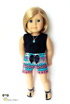 American Doll Clothes  18 inch Doll Clothes  Print Shorts