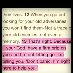 "Isaiah 41:13 ""... Don't panic. I'm right here to help you."""