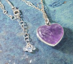 Love Grows Everything Heart Pendant Natural Stone Amethyst