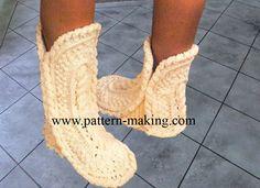 Free #crochet pattern for Aran Slippers.