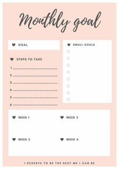 Free printable self-care planners. monthly goal planner miss mental free printable. Plan your month with this free planner and work on your self growth and mental health. Pink Planner, To Do Planner, Free Planner, Goals Planner, Planner Pages, Weekly Planner, Student Planner, Weekly Goals, School Planner