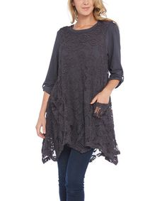 Look at this #zulilyfind! Gray Sheer Lace Sleeveless Tunic - Plus #zulilyfinds