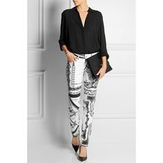 Versus + Anthony Vaccarello printed mid-rise skinny jeans (£119) ❤ liked on Polyvore featuring jeans, mid rise skinny jeans, black and white jeans, skinny jeans, skinny fit jeans and denim skinny jeans