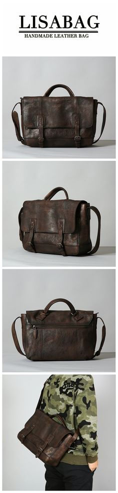 0ecef5c7084 Handmade Full Grain Leather Briefcase Men's Messenger Bag 13'' Laptop Bag  in Dark Brown