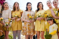 mix and match yellow bridesmaids' dresses, photo by Jennifer Young http://ruffledblog.com/bohemian-los-angeles-wedding #bridesmaidsdresses #wedding