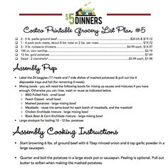 Costco Meal Plan #5 - 21 Meals for $150 - Gluten Free Freezer Cooking Plan - Recipes, Shopping List & Assembly Instructions plus Video Access