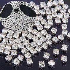 200x Crystal Silver Flat Back Sew on Rhinestones Gems Diamante 3mm 4mm for Craft