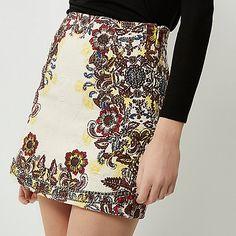 Cream floral print jacquard mini skirt - skirts - sale - women