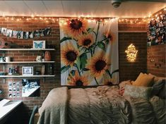 dream room Do you ever glance at your bare apartment walls, or blankly stare at empty spaces in your room and think- I want my room to look like th Cute Room Ideas, Cute Room Decor, Dorm Rooms, House Rooms, College Dorm Bedding, Sunflower Room, Tumblr Rooms, Aesthetic Bedroom, Dorm Decorations
