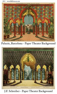 EKDuncan - My Fanciful Muse: Spanish Paper Theater Images Part 1 - Paluzie, Barcelona Tunnel Book, Paper Art, Paper Crafts, Toy Theatre, Paper Dolls Printable, Paper Toys, Paper Background, Vintage Paper, Vintage Images