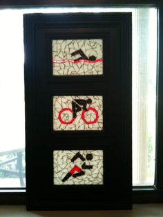 Small triathlon mosaic.  Each mosaic is 5x7