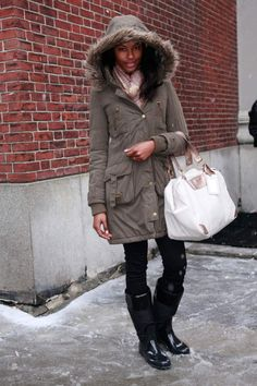Excellent additions to the cold weather: hooded coat, boots and a great bag