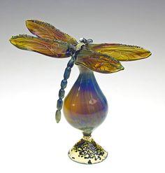 Blue Dragonfly Bottle: Loy Allen: Art Glass Perfume Bottle - Artful Home