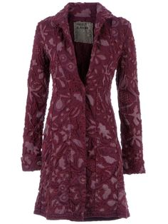 Purple recycled cotton coat from Project Alabama featuring a lilac floral pattern, a lapel collar, long sleeves with turn-up cuffs, a single front button fastening and a woven trim.