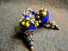 Colorful Lampwork Earrings, Radiant Blue, Handmade Art Beads, Mixed Metal, Copper & Silver, Funky Boho, #Elksong Jewelry  $39.00