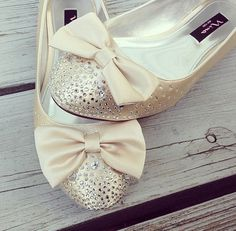 Champagne ballet flats wedding shoes with rhinestones.