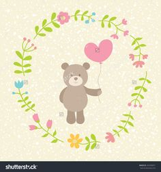 Cute Vector Illustration. Toy Teddy Bear With Heart. Can Be Used For Valentines Postcard, Celebration Postcard, Invitation, Scrapbooking. - 243390871 : Shutterstock