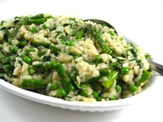 Asparagus Risotto!!  Asparagus is great as a detox vegetable. It's considered an anti-aging vegetable, helps to reduced inflammation and so much more.  It's high in folic acid, potassium, fiber, thiamine and vitamins A, B6 and C.