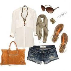 Pop of Orange, created by jill-hammel Orange Outfits, Cute Summer Outfits, Cute Outfits, Denim Outfits, Complete Outfits, Pop, Spring Summer Fashion, Dress To Impress, Style Me