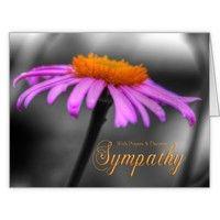 Prayers and Sympathy Purple Orange Coneflower Large Greeting Card