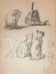 Sketch Book Cat Theophile Steinlen - Théophile-Alexandre Steinlen was an Art Nouveau printmaker, illustrator, painter and sculptor best known for his prolific portfolio of cat depictions. Cat Drawing, Figure Drawing, Drawing Sketches, Sketchbook Inspiration, Art Sketchbook, Animal Sketches, Animal Drawings, Cat Anime, Academic Drawing