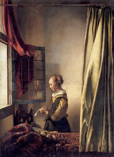 <창가에서 연애편지 읽는 소녀 by 얀 베르메르> '편지'는 곧 '소통'이다. 이 그림을 봤을 때 눈에 가장 먼저 들어온 것은 '열린 창'이었다. 열린 창은 빛, 소리, 풍경이 드나드는 소통의 통로이다. 화가는 편지가 유일한 소통 수단임을 열려있는 창으로 다시 한번 강조하고 싶어 했던 것 같다. 이 그림의 여인은 다소 긴장한 것 같은 얼굴을 하고 편지에 몰입하고 있다. 사람의 마음은 표정에 드러나기 마련이다.  이 여인이 편지에 고요하게 몰입하고 있는 것으로 보아 여인의 마음이 온통 편지를 써준 사람을 향해 있음을 알 수 있다.